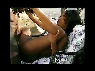 Ebony gets fucked outdoors