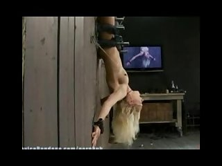 Hot blond bound upside down to wall with hard metal made to cum