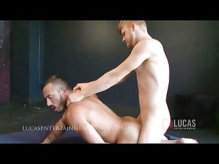 Blonde bottom rides hairy masc top
