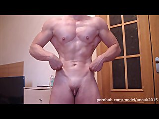 OILED UP Posing, Big clit spanking - Muscle Girl ANOUK