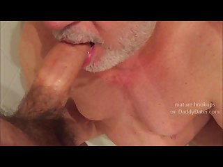 Silverdaddy daddybear piss drinking from uncut cock