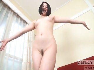 Pale japanese Av star shows big butt and pubic hair subtitled