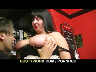 Chunky barmaid jumps on customer S cock