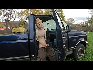 Straight 18 year old redneck cum on dad\'s old truck. +moaning