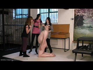 Three teeny school girls make old pervert man suck dildo on a stick