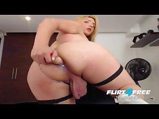 Naughty tgirl ass fucking cum eating