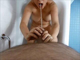 Piss in my mouhth pee all over me ape wife and man having water sports