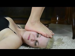 Lesbian trample head standing and face crushing with bare feet