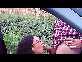 Lilly caught on dashcam giving a blowjob and taking a facial