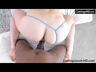 Blonde takes first black cock doggystyle at casting