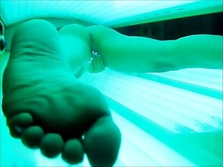 Hot milf secretly filmed masturbating in tanning bed orgasms