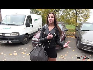 Takevan horny brunette agree with ride for hard fuck and creampie