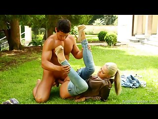 Blonde fucks gardener while her clothes on