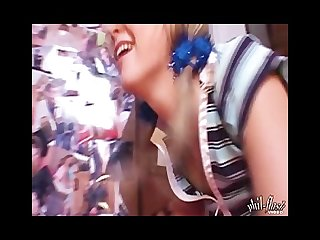 Kasia fucks a wall mounted blue dildo