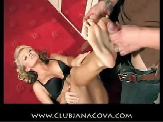 Jana cova tease dirty talking handjob and cum on soles