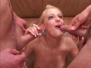 Mature slut gets fucked in hot group sex