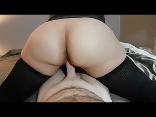Reverse cowgirl with thigh high socks has explosive orgasm and cum in pussy