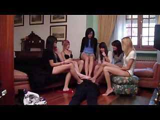 Seven spanish teens dominate a guy with their soft bare feet
