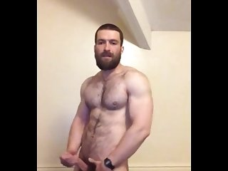 Hung and hairy british hunk wanking