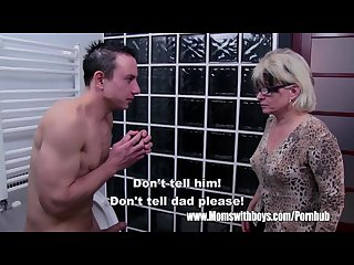 Grey haired stepmom fucks her bathroom jerking stepson