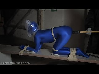 Spandex catsuit breath play dildo fucked