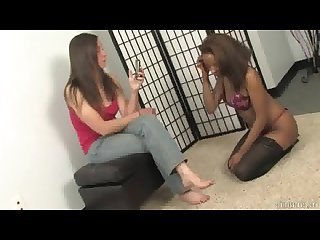 Claire forces black slave girl to be her foot slave
