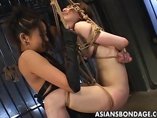 Japanese mistress fucks her Slavegirl with strapon
