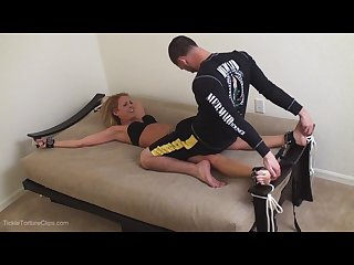 Violet tickle tortured on bed