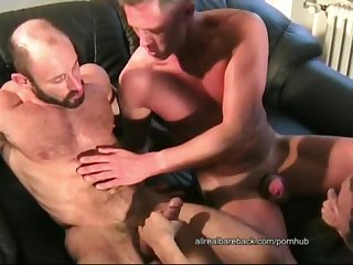 Twink bare fucked by two muscle daddys