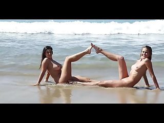 Elly and scarlett morgan nude swim on beach