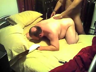 Chubby fucked in the bed