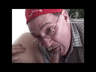 Cum swallowing grandpa gumjob on hot puerto rican cock