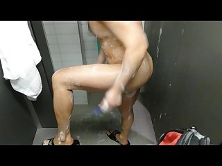 Married asian jerk off at a gym shower