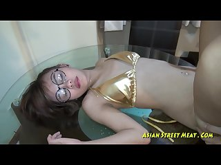 Asian face fucked in wardobe