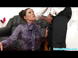 Posh cfnm euro lady takes hard mouthfuck