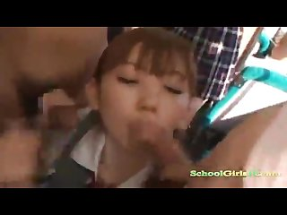 Cute japanese teen girl fucked in train