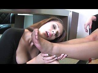 Lesbian nylon foot slave