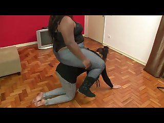 Black bbw amazon rides her ponygirl