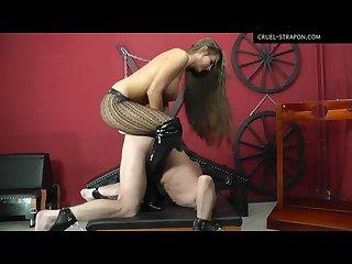 Mistress hard strapon stocking boots
