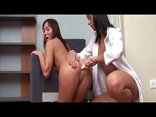 Lesbian teen visits doctor and gets pussy examined and licked