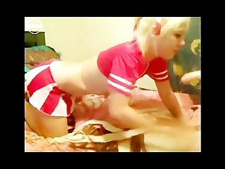 Blonde cheerleader deep throats dildo