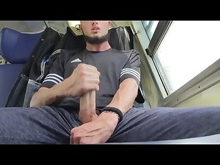 Train jerk off thick dick