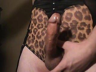 Jerkoff in my leopard print lingerie