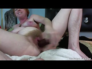 Hairy all over red gal with wet unshaven twat