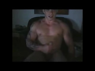 Hot tatted buff uk stud jerking and shooting his cum