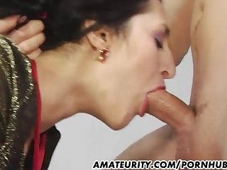 Amateur girlfriend deepthroats a huge cock