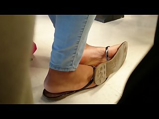 Classmate s candid ebony feet in class