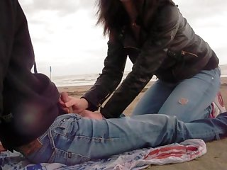 Outdoor blowjob on the beach extended