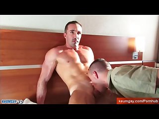 Hotel s client gets sucked his cock by a room service guy in spite of him