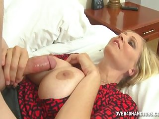 Hot mom strokes hot cock